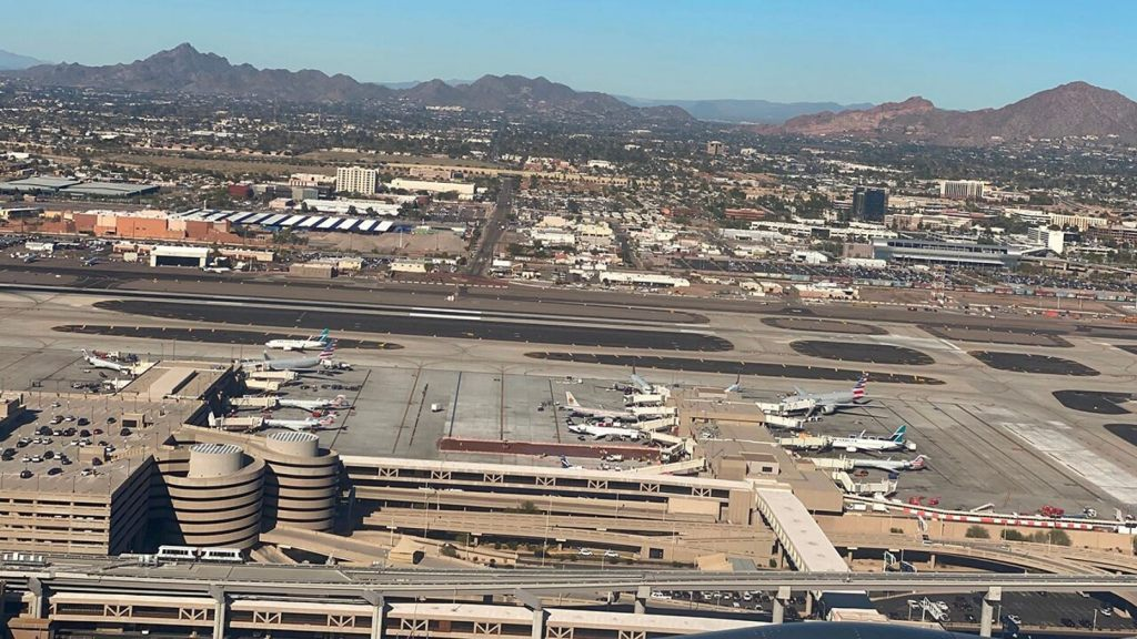 Aerial view of Phoenix Sky Harbor International Airport on January 6,