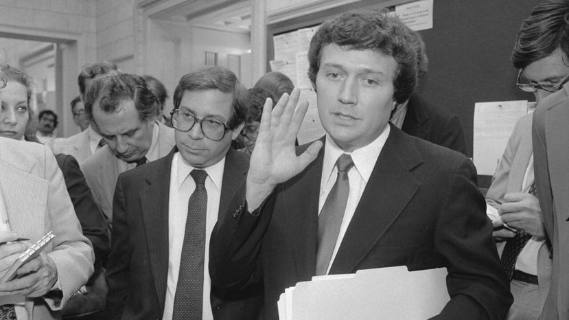 In this 1980 photo, then-Rep. Michael Myers, D-Pa. speaks to reporters at the Capitol