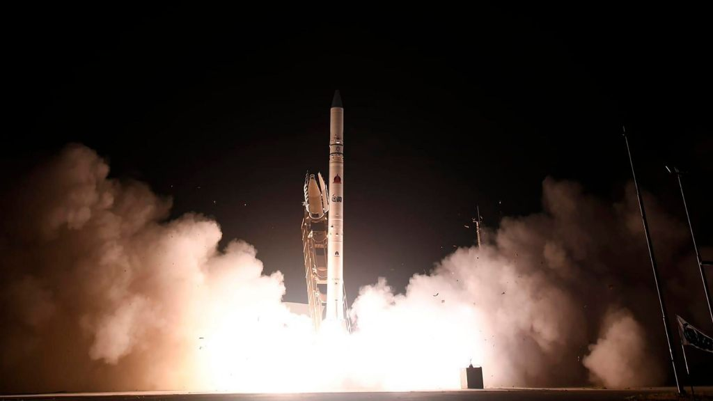 "In this photo released by Israel Ministry of Defense Spokesperson's Office, the ""Ofek 16"" reconnaissance satellite blasts off at,"