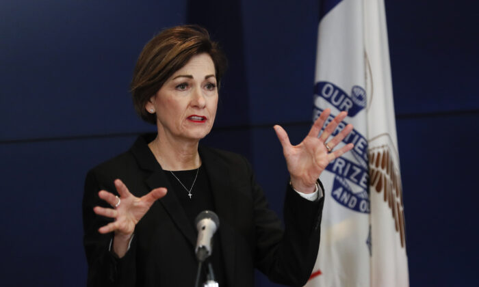Iowa Gov. Kim Reynolds updates the state's response to the CCP virus outbreak during a news conference at the State Emergency Operations Center,