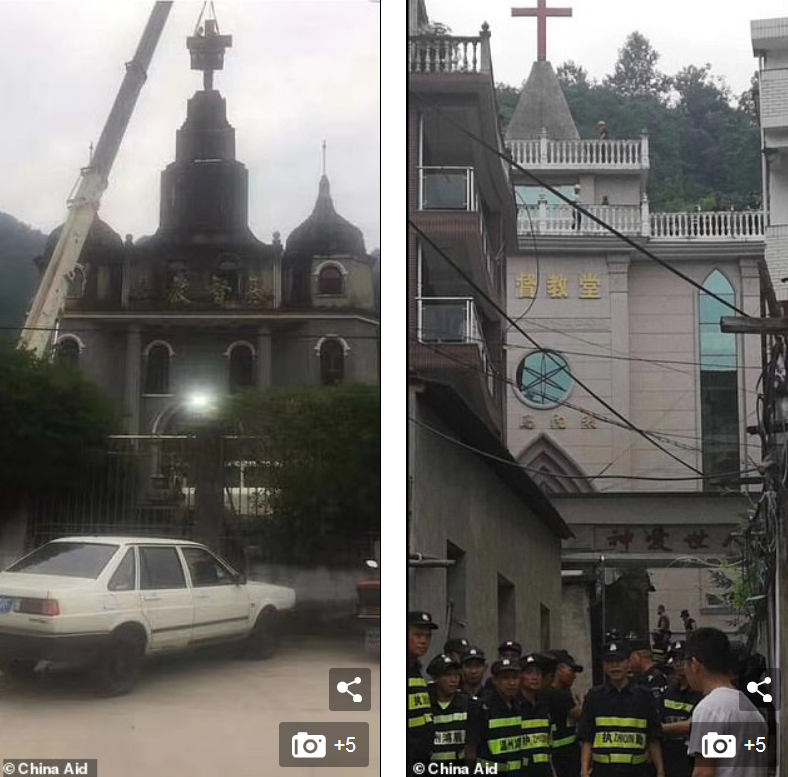 Pictures released by US-based China Aid purport to show a crane taking down a cross on top of a church (left)