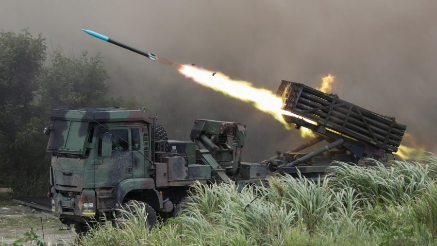 Multiple Launch Rocket System Thunderbolt-2000 fires rockets during the live-fire, anti-landing Han Kuang military exercise, which simulates an enemy invasion, in Taichung, Taiwan, on July 16, 2020.
