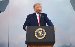 "President Donald Trump speaks during a ""Salute to America"" event on the South Lawn of the White House,"
