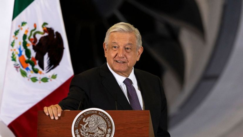 Mexican President Andres Manuel Lopez Obrador gives his daily, morning press conference in front of the former presidential plane at Benito Juarez International Airport in Mexico City, Monday, July 27, 2020.