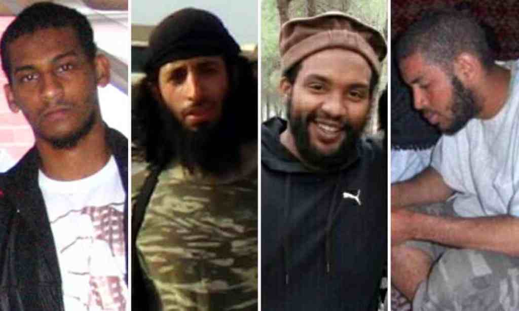 El Shafee Elsheikh (far left) and Alexanda Kotey (far right) were members of a notorious Isis gang that hostages nicknamed 'the Beatles'. Composite: supplied.