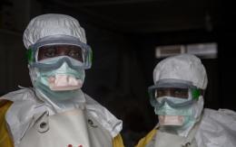 GOMA, NORTH KIVU, DEMOCRATIC REPUBLIC OF CONGO - Medical staff dressed in protective gear