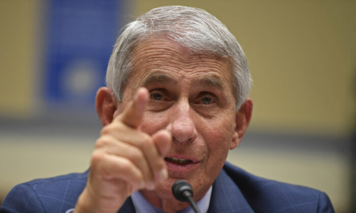 Dr. Anthony Fauci, director of the National Institute for Allergy and Infectious Diseases, testifies during a House Subcommittee hearing on the COVID-19 pandemic on Capitol Hill in Washington, on July 31, 2020.