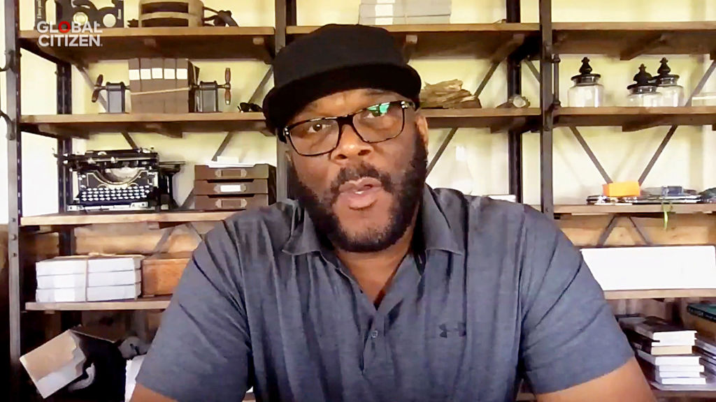 "UNSPECIFIED LOCATION - APRIL 18: In this screengrab, Tyler Perry speaks during ""One World: Together At Home"" presented by Global Citizen on April, 18, 2020."