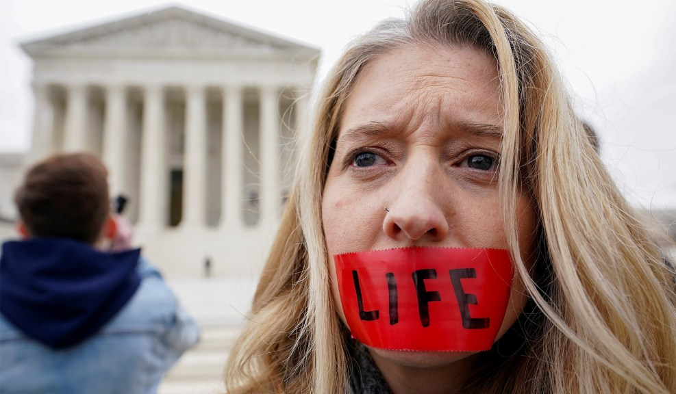 A pro-life demonstrator outside the Supreme Court during the the 47th annual March for Life in Washington, D.C., January 24, 2020.