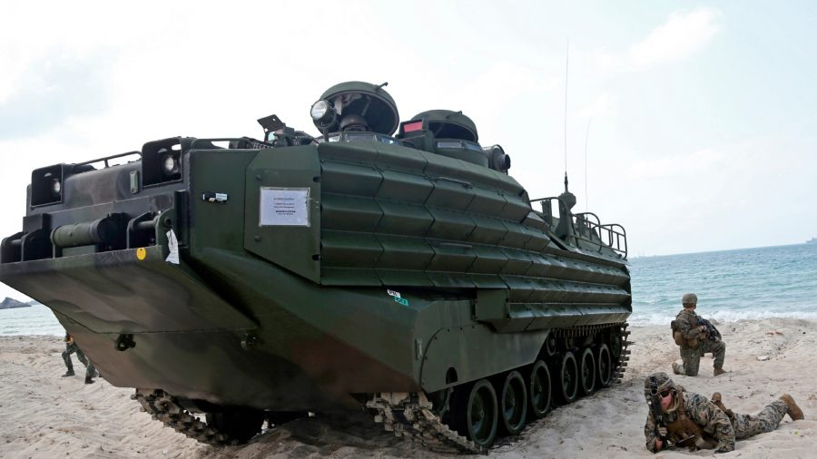 """U.S. soldiers land with an amphibious assault vehicle (AAV) during a U.S.-Thai joint military exercise titled """"Cobra Gold"""" on Hat Yao beach in Chonburi province, eastern Thailand, on Feb. 16, 2019."""