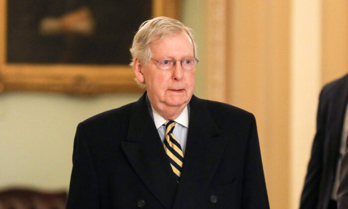 Senate Majority Leader Mitch McConnell (R-Ky.) arrives at the Capitol in Washington on Jan. 27, 2020.