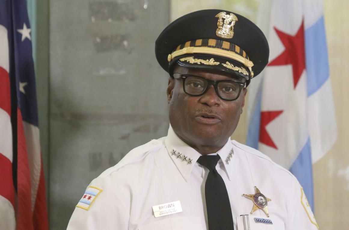 FILE - This July 27, 2020 photo, Chicago Police Superintendent David Brown speaks at a news conference in Chicago. Homicides and shootings have surged in Chicago during the first seven months of the year.