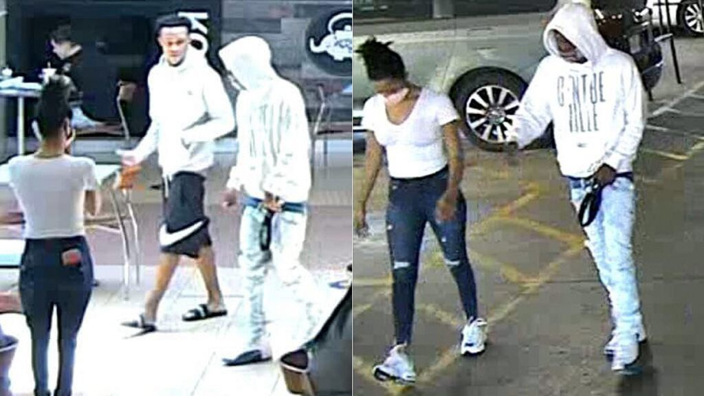 San Antonio police say the men in these photos are wanted in the fatal shooting of an 11-year-old cheerleader on Aug. 15