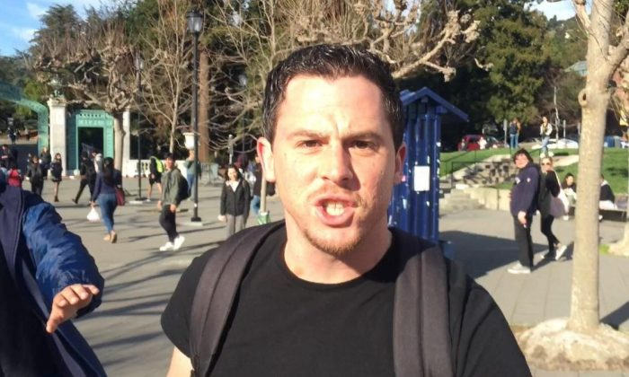 The man, later identified as Zachary Greenberg, who attacked conservative activist Hayden Williams at the University of California at Berkeley on Feb. 20, 2019.