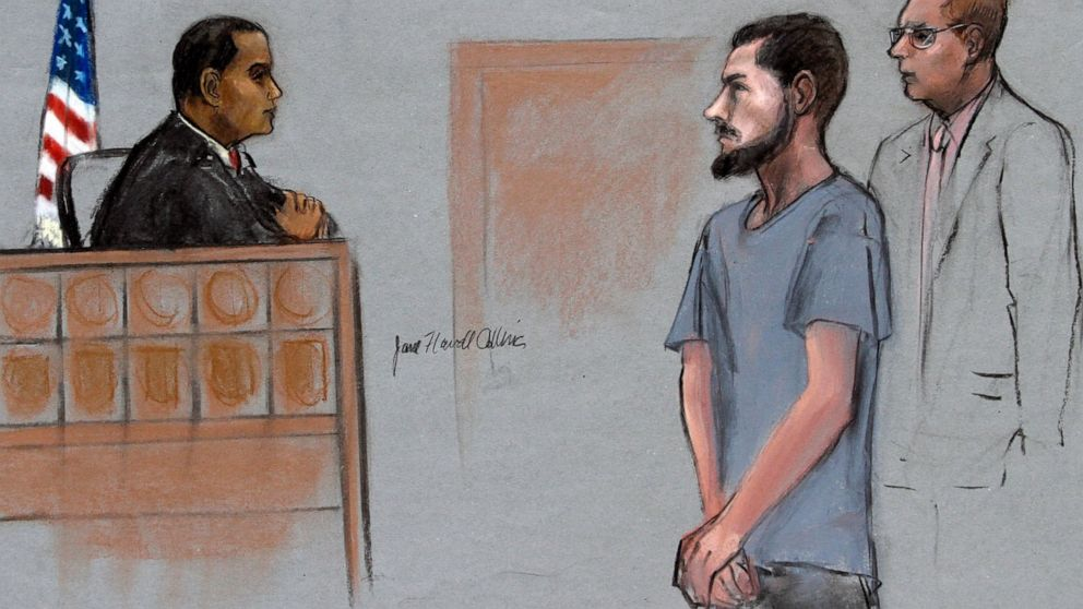 In this Friday, June 12, 2015, file courtroom sketch, Nicholas Rovinski, second from right, of Warwick, R.I., is depicted standing with his attorney William Fick, right, as Magistrate Judge Donald Cabell, left, presides during a hearing in federal court in Boston.