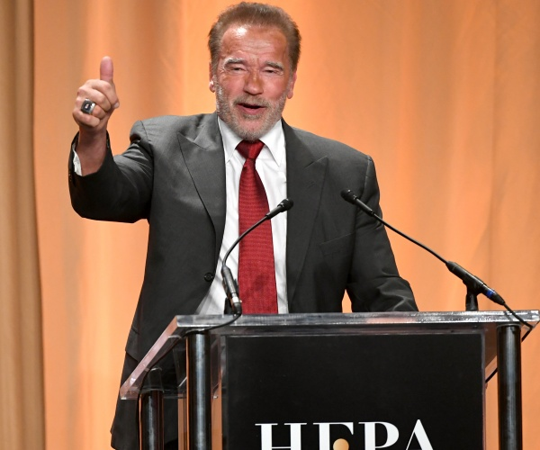Arnold Schwarzenegger speaks onstage during Hollywood Foreign Press Association's Annual Grants Banquet at Regent Beverly Wilshire Hotel on July 31, 2019 in Beverly Hills, California.