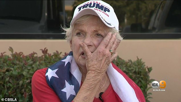 Donna Snow, 84 (pictured), was punched by a man as she attended a Trump rally in Aliso Viejo, California, on Wednesday night.
