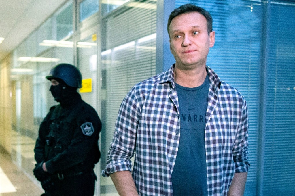 Russian opposition leader Alexei Navalny speaks to the media in 2019 at the Foundation for Fighting Corruption office in Moscow, Russia.