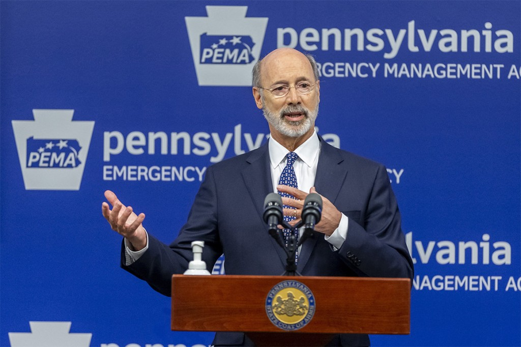 Pennsylvania Gov. Tom Wolf meets with the media at The Pennsylvania Emergency Management Agency headquarters in Harrisburg, Pa.