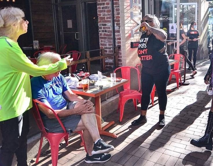 Monique Craft chugs a beer she stole from elderly couple.