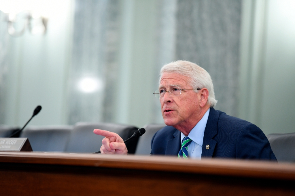 Sen. Roger Wicker speaks during a Senate Commerce, Science, and Transportation committee hearing to examine the Federal Communications Commission.