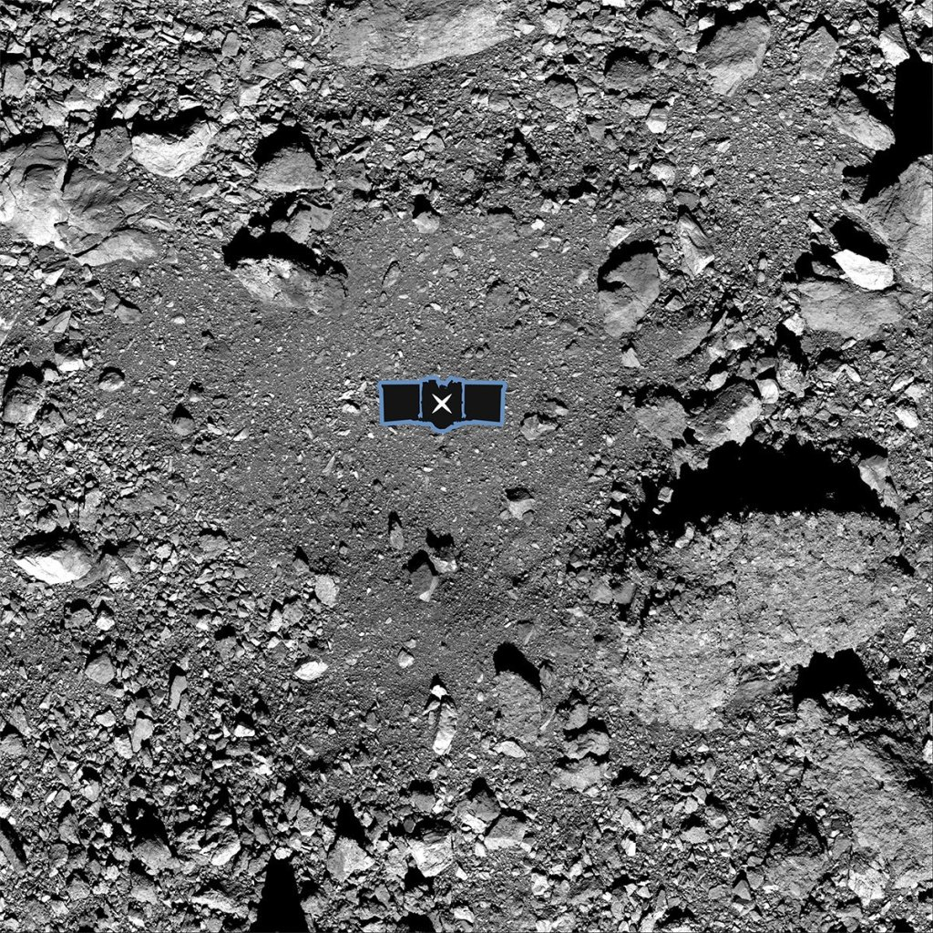 "This undated image made available by NASA shows the OSIRIS-REx spacecraft's primary sample collection site, named ""Nightingale,"" on the asteroid Bennu."