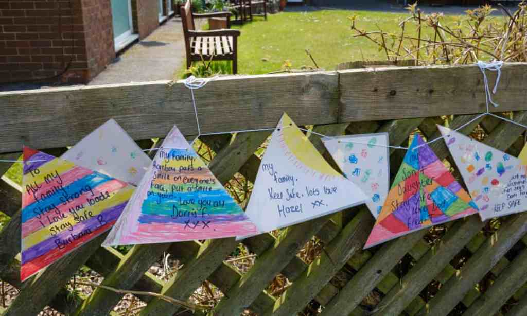 Messages to loved ones tied to the fence of a Derbyshire nursing home. Charities have said Covid restrictions have contributed to a 'hidden catastrophe' in care homes.