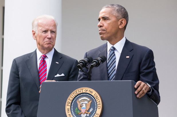 Joe Biden and Barack Obama in 2016.NurPhoto via Getty Images