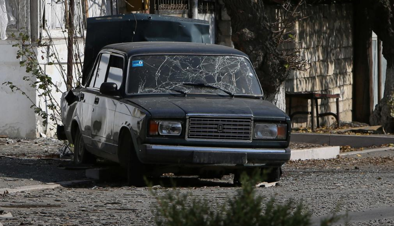 A view shows a car damaged by shelling during the military conflict over the breakaway region of Nagorno-Karabakh, in the town of Martuni October 27, 2020.