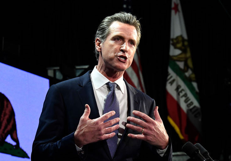 LOS ANGELES, CA - NOVEMBER 06: Democratic gubernatorial candidate Gavin Newsom speaks during election night event on November 6, 2018 in Los Angeles, California. (Photo by Kevork Djansezian/Getty Images)