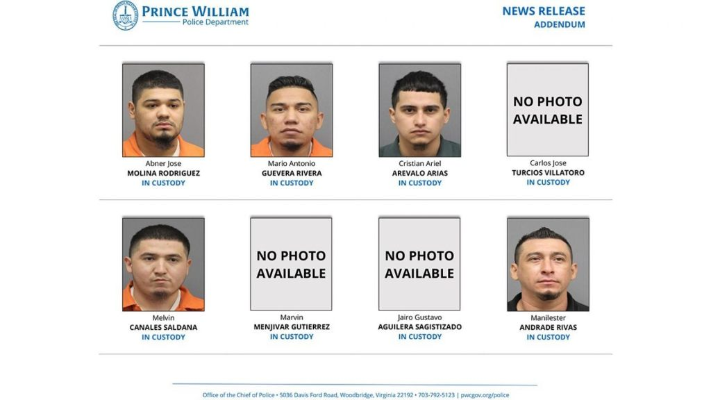These eight MS-13 gang members were facing murder charges in Virginia, along with four others. The charges were announced Tuesday.