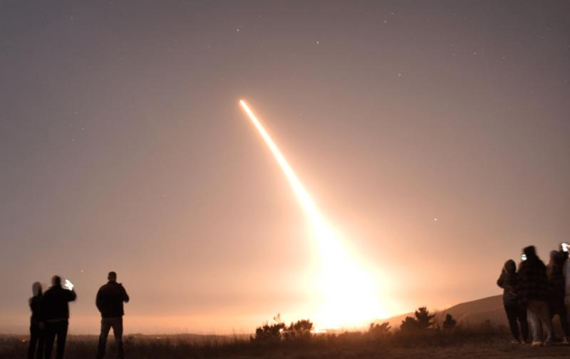 A Minuteman III Interncontinental Ballistic Missile (ICBM) takes off from Vandenberg Air Force Base, California, Oct. 29, 2020.