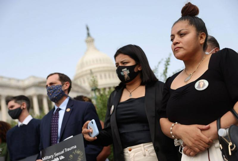Gloria Guillen, right, mother of 20-year-old murder victim U.S. Army Private First Class Vanessa Guillen, and her daughter Lupe, second from right, attend a news conference outside the U.S. Capitol in Washington, D.C., on September 16, 2020.