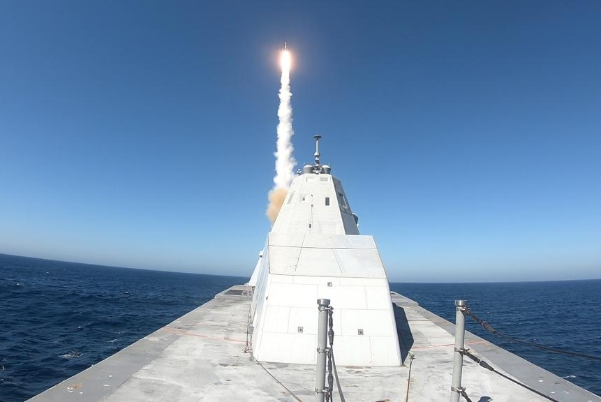 The USS Zumwalt's had its first missile test earlier this month on the Naval Air Weapons Center Weapons Division Sea Test Range, Point Mogu.