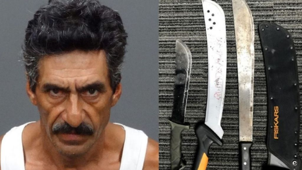 Fidel Esparza is accused of attacking two people with machetes in two separate incidents last month.