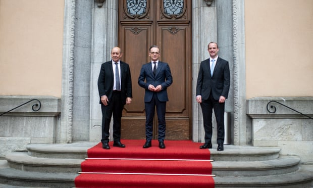 The German, French and UK foreign ministers, Heiko Maas, Jean-Yves Le Drian and Dominic Raab, at a meeting in Berlin in June.
