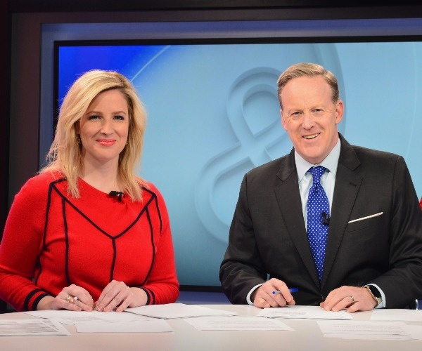 "Lyndsay Keith and Sean Spicer on the set of ""Spicer & Co.,"" Newsmax TV's dynamic news talk show."