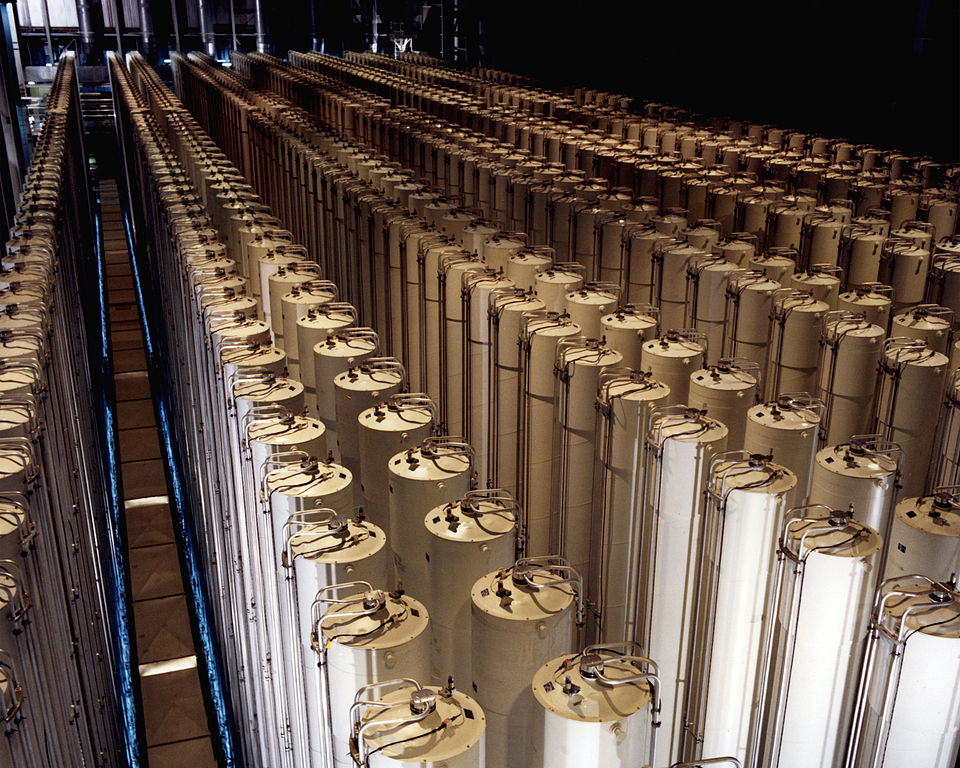 Cascade of gas centrifuges used to produce enriched uranium. (U.S. Department of Energy Archives/Released)