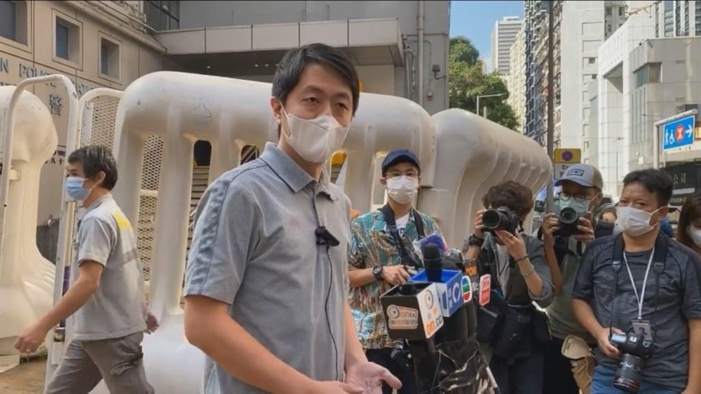 Ted Hui outside Western Police Station. Photo: Stand News screenshot,
