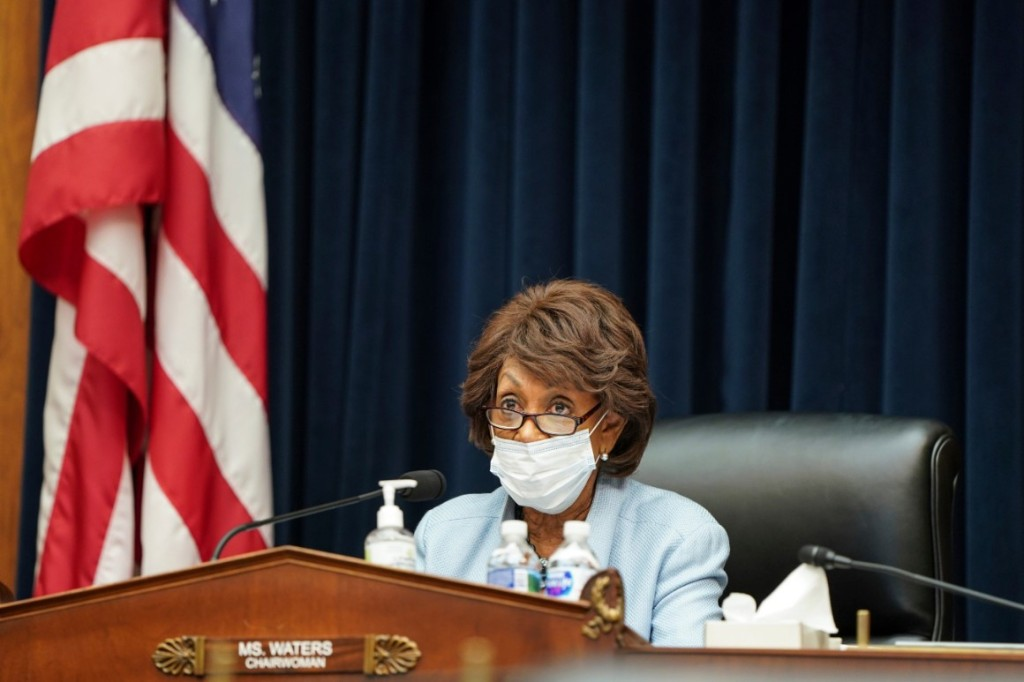 House Financial Services Chair Maxine Waters speaks during a House Financial Services Committee hearing.