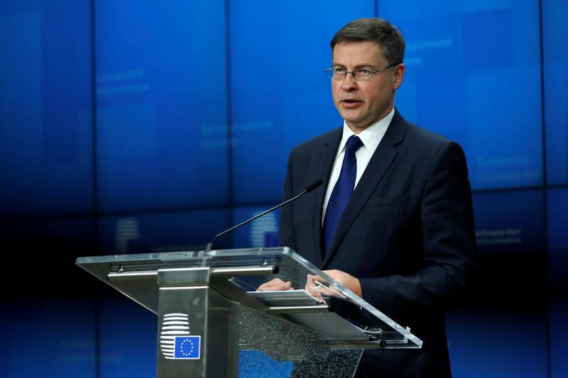 European Commission Vice-President Valdis Dombrovskis  at the European Council building in Brussels, Belgium, November 9, 2020. Francisco Seco/Pool via REUTERS