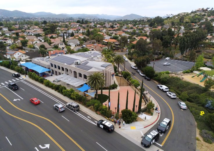 A Poway, Calif., synagogue the day after a deadly shooting / Getty Images