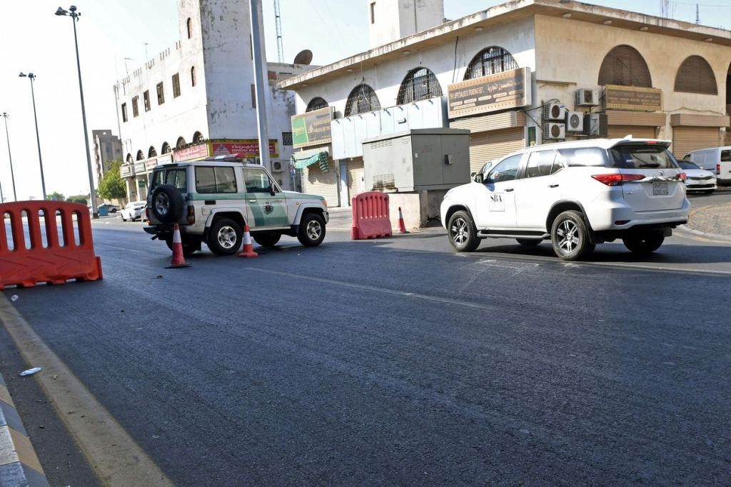 Saudi police close a street in Jeddah after a bomb attack at a World War I commemoration attended by European diplomats Wednesday.