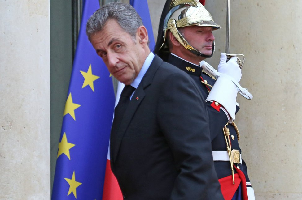 Former French President Nicolas Sarkozy, shown arriving at the Elysee Palace in Paris on September 30, 2019, appeared in court Monday for his long-awaited corruption trial,