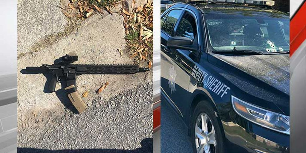 The sheriff said the suspect used this rifle when he opened fire on the deputy's car.