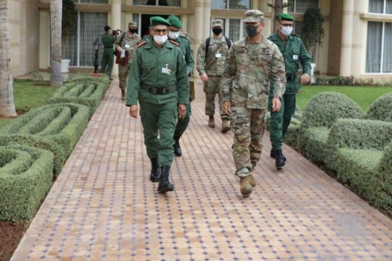 Moroccan army Gen. Belkhir Farouk, left, and U.S. Forces Africa Maj. Gen. Andrew Rohling met in Agadir, Morocco, last week, ahead of the announced consolidation of U.S. Army commands in Africa and Europe on Friday.