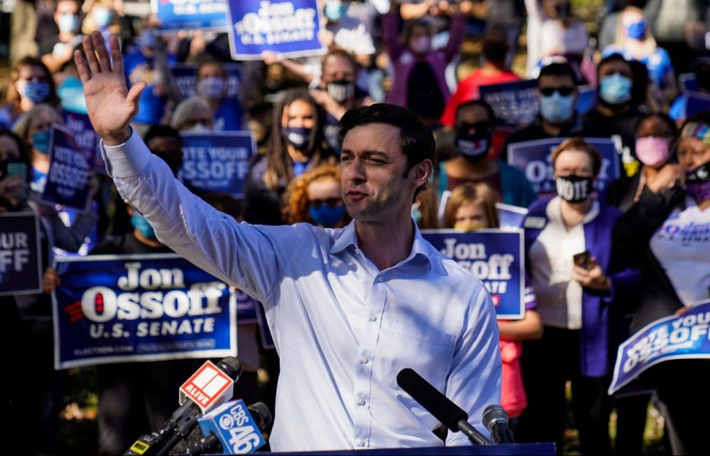 Jon Ossoff holds a campaign event at Grant Park on Friday, Nov. 6, 2020 in Atlanta, GA. Ossoff, who is challenging incumbent U.S. Sen. David Perdue, will likely forced into a January runoff between the two men.