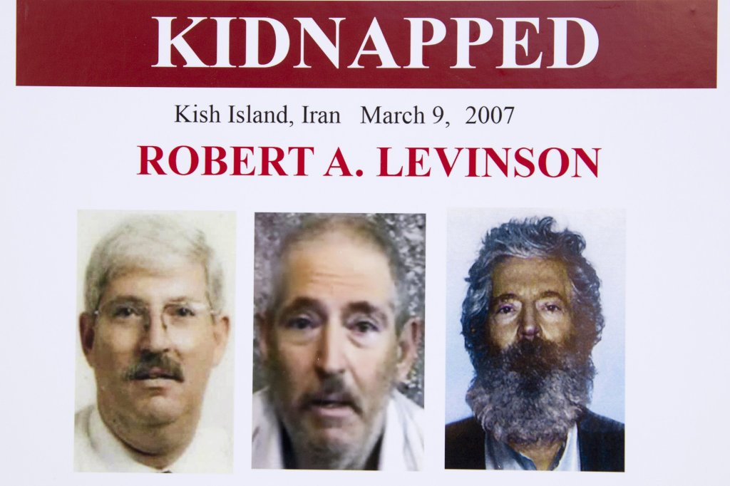 FILE - In this March 6, 2012, file photo, an FBI poster showing a composite image of former FBI agent Robert Levinson.