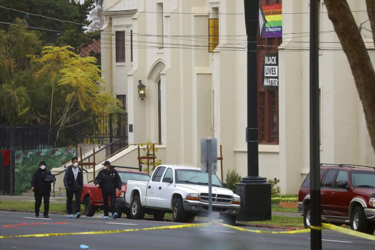 Members of the San Jose Police Department investigate a homicide scene at Grace Baptist Church on Monday, Nov. 23, 2020, in San Jose, Calif.