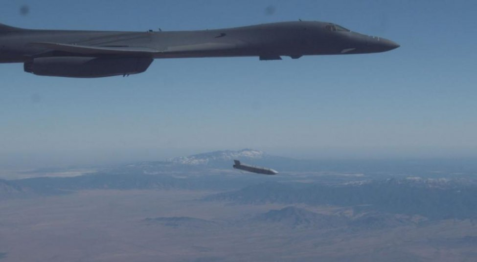A B-1B Lancer releases a Joint Air-to-Surface Standoff Missile during an external release demonstration over Holloman Air Force Base, N.M., on Dec. 4.